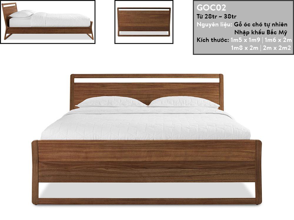 Giường ngủ gỗ óc chó GOC02