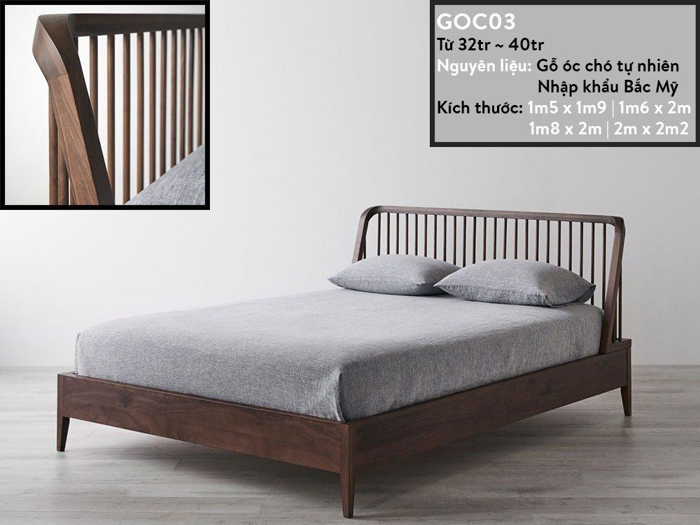 Giường ngủ gỗ óc chó GOC03