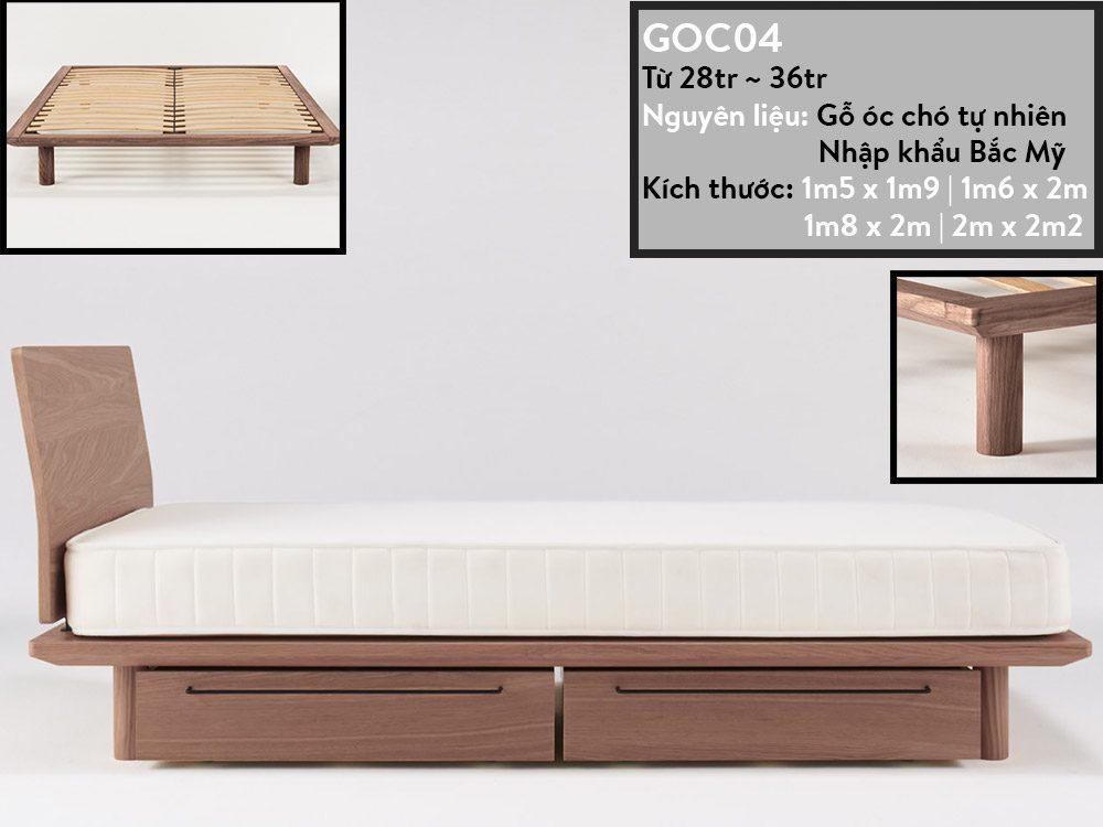 Giường ngủ gỗ óc chó GOC04