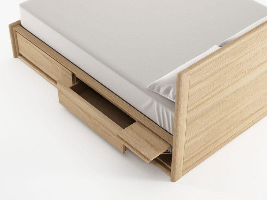 Giường hộp ngăn kéo gỗ sồi