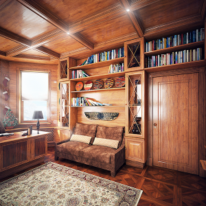Văn phòng tại nhà sử dụng nội thất gỗ