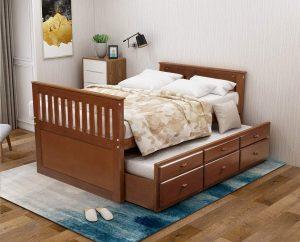 Giường đôi walnut cho trẻ 1