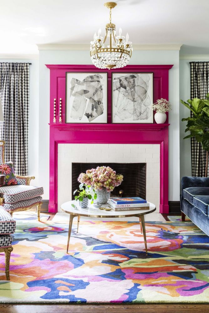 Living Room With Pinky Paint