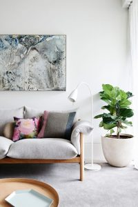 Living Room With Plant Natural Wooden