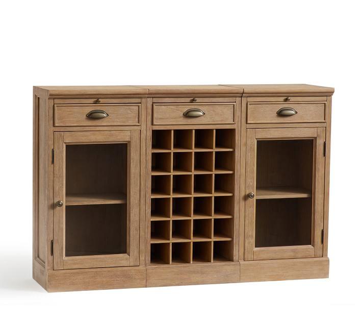 Kệ trang trí kết hợp tủ rượu gỗ sồi