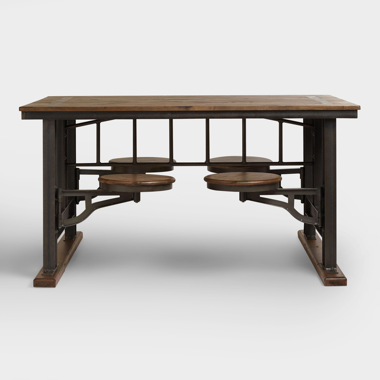 Bàn ăn ghế xoay khung sắt mặt gỗ