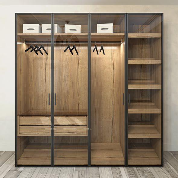 Tủ Quần áo Gỗ Cửa Kính Khung Inox (1)