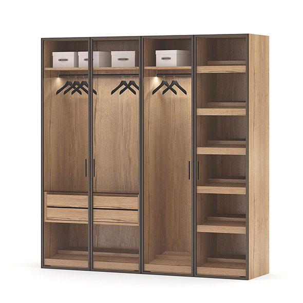 Tủ Quần áo Gỗ Cửa Kính Khung Inox (4)