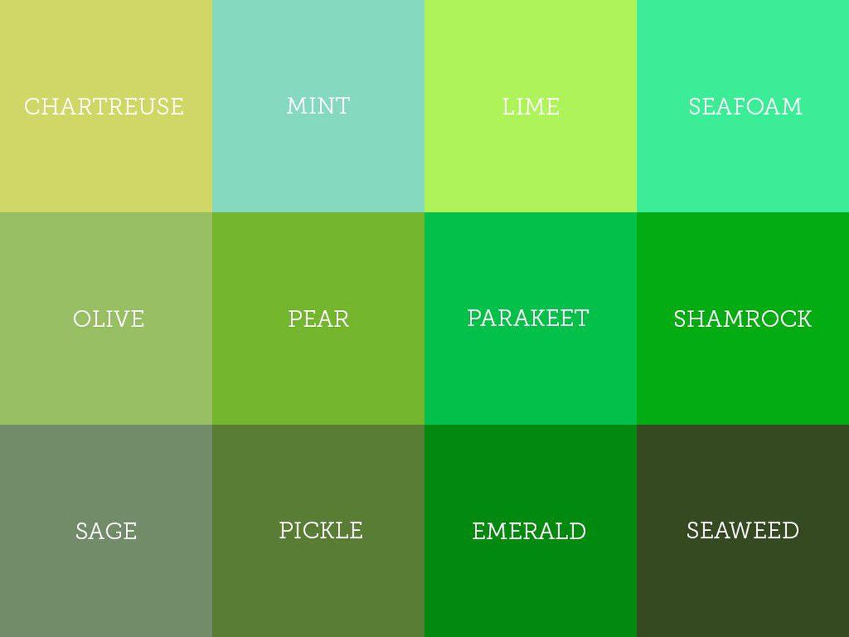 Những sắc thái của màu xanh lá cây.