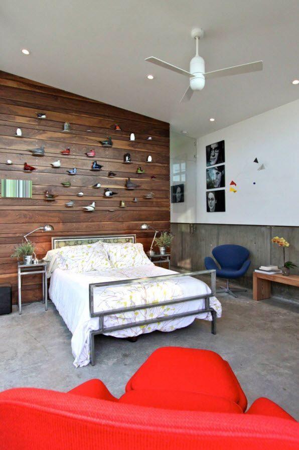 Ốp vách phòng ngủ gỗ óc chó